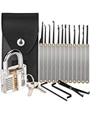 H&S Lock Pick Set Padlock Picking Tools Kit Practice Training Set with Transparent Practice Padlock