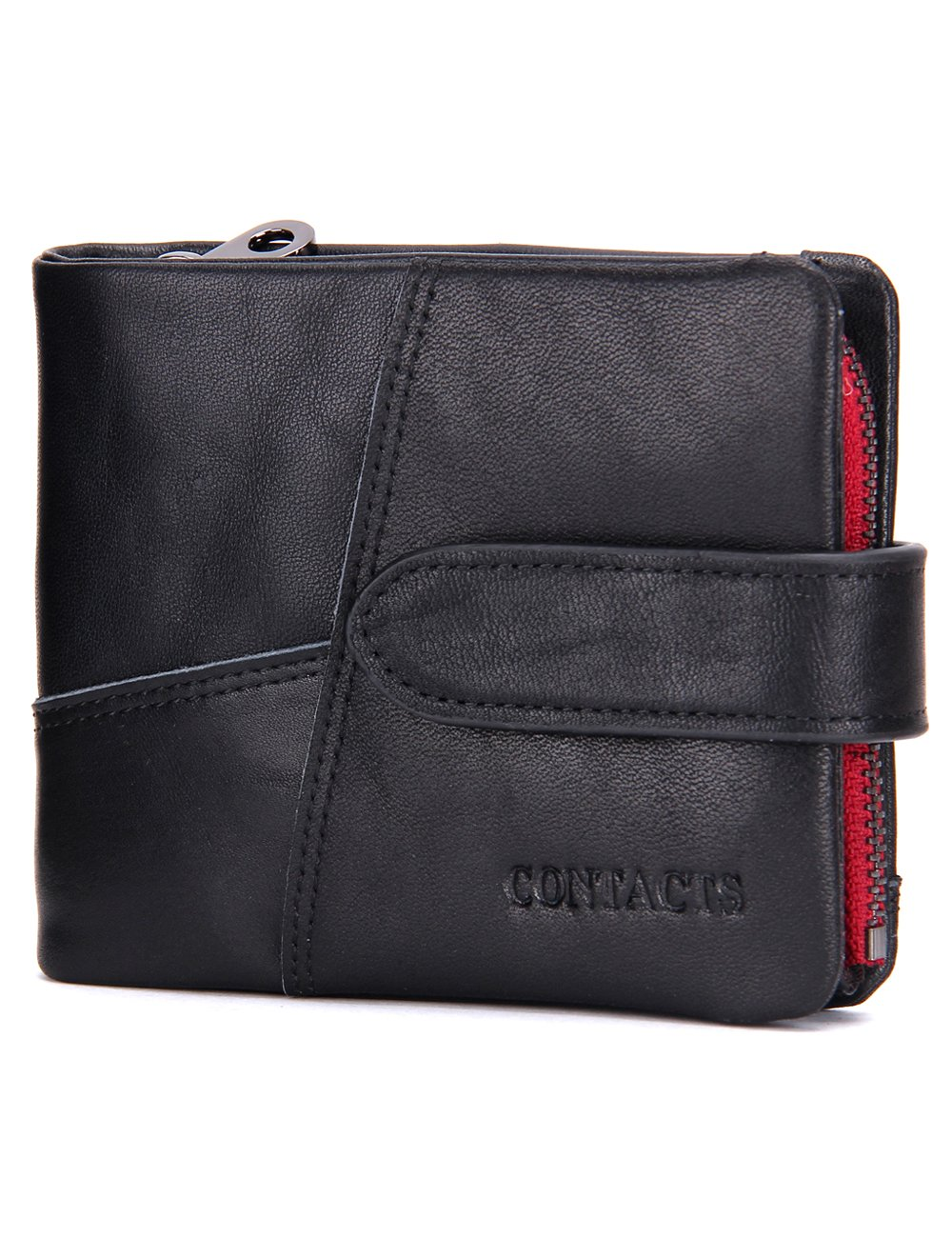 Contacts Mens Soft Genuine Leather Coin Pocket Purse Trifold Short Wallet Black