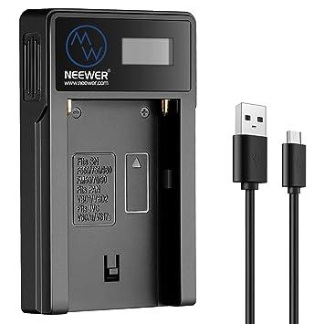 Neewer - Cargador de batería Micro USB para Sony NP-F550/F750/F960/F970, NP-FM50/FM70/FM90, QM71D, 91D, NP- F500H/F55H
