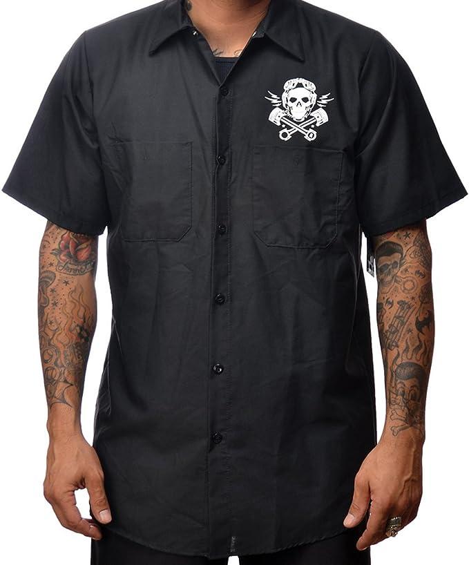 Steady Clothing - Camisa de hombre, diseño de calavera y pistón: Amazon.es: Ropa y accesorios