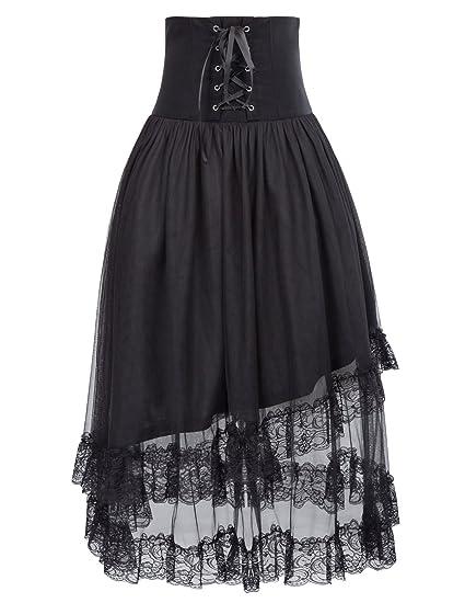 Falda de cóctel Falda negra Rockabilly falda gótica falda ...