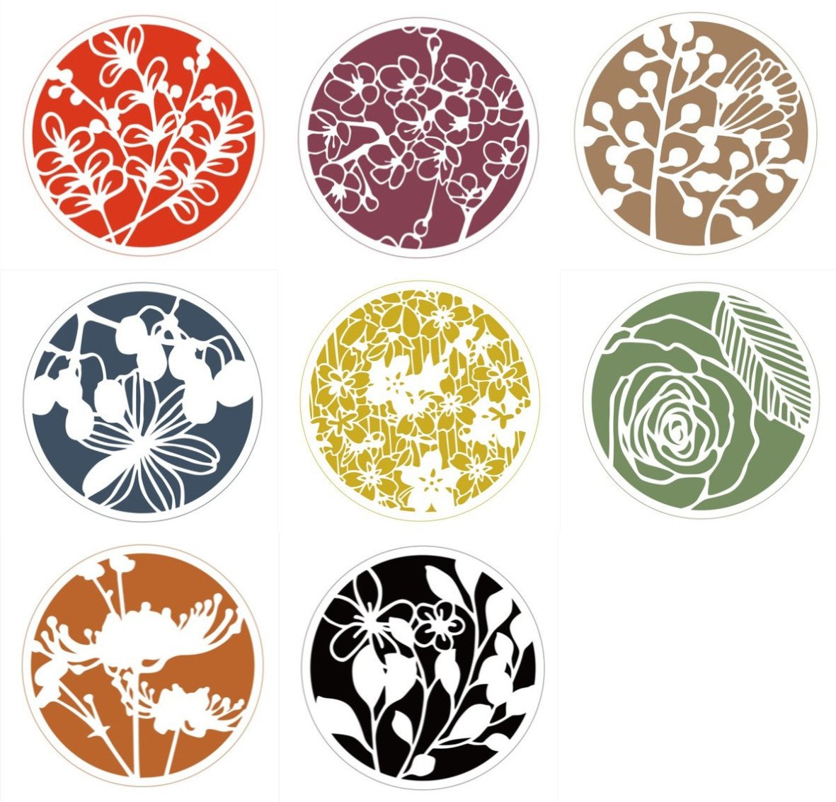 Hyamass 8pcs Mix Flower Stencils Round Shape Hollow Out Painting Stencils Drawing Templates
