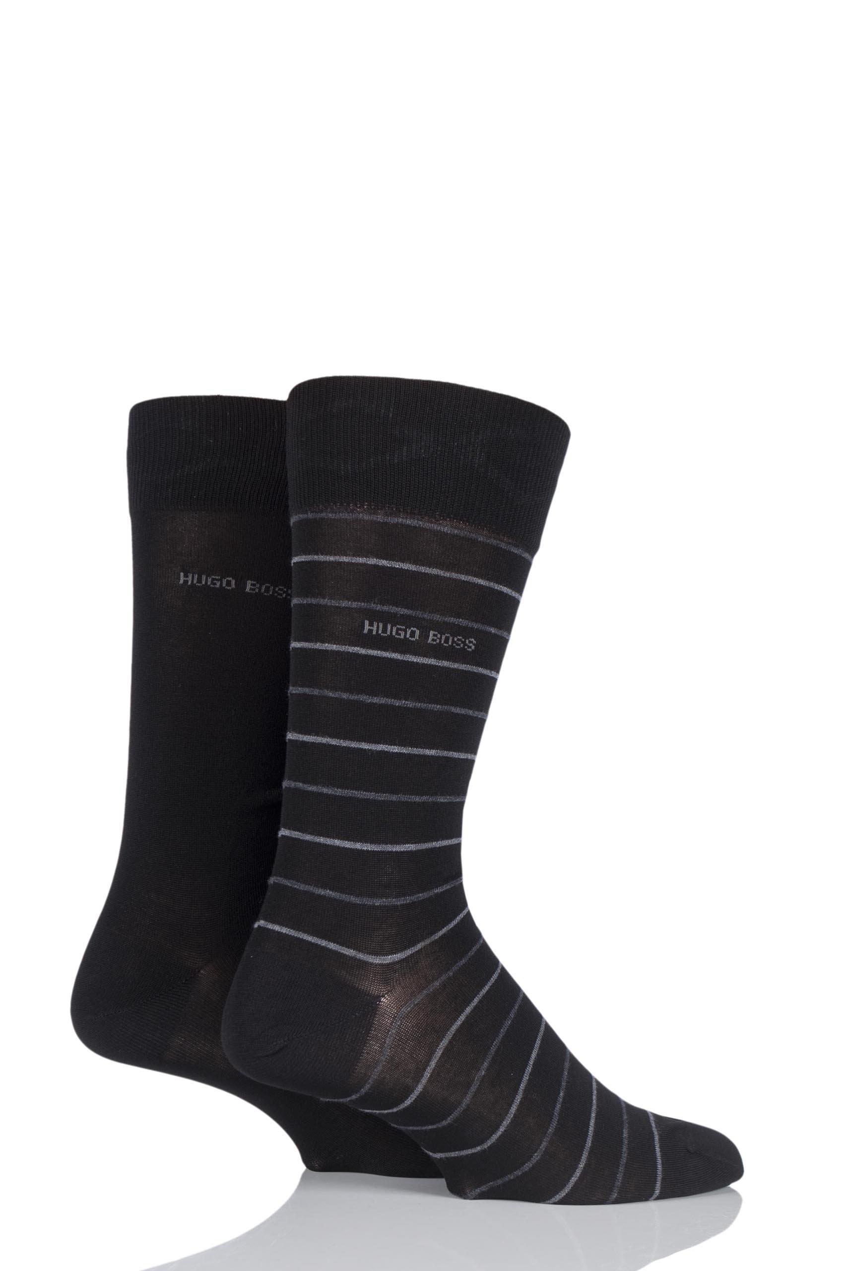 Mens 2 Pair Hugo Boss Fine Striped and Plain Mercerised Cotton Socks Black 8.5-11