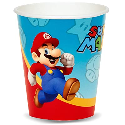 Super Mario Party Birthday Supplies 16 Pack Paper Cups: Toys & Games