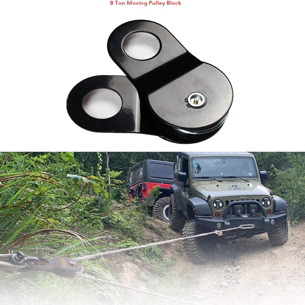 AGAWA Snatch Block for Winch Recovery,8T Winch Recovery Heavy Duty Road Shackle,Pulley Double Winch 17000 Pound Capacity