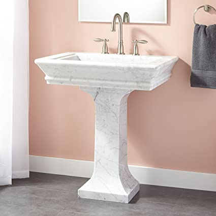 Naiture 30u0026quot; Marble Pedestal Sink With Chrome Finish Pop Up Bathroom  Drain   1