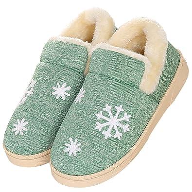 JACKSHIBO Damen Winter Warm Hausschuhe Anti-Rutsch Plüsch Baumwolle Pantoffeln Home Slippers,Hellgrau,EU 44/EU 45
