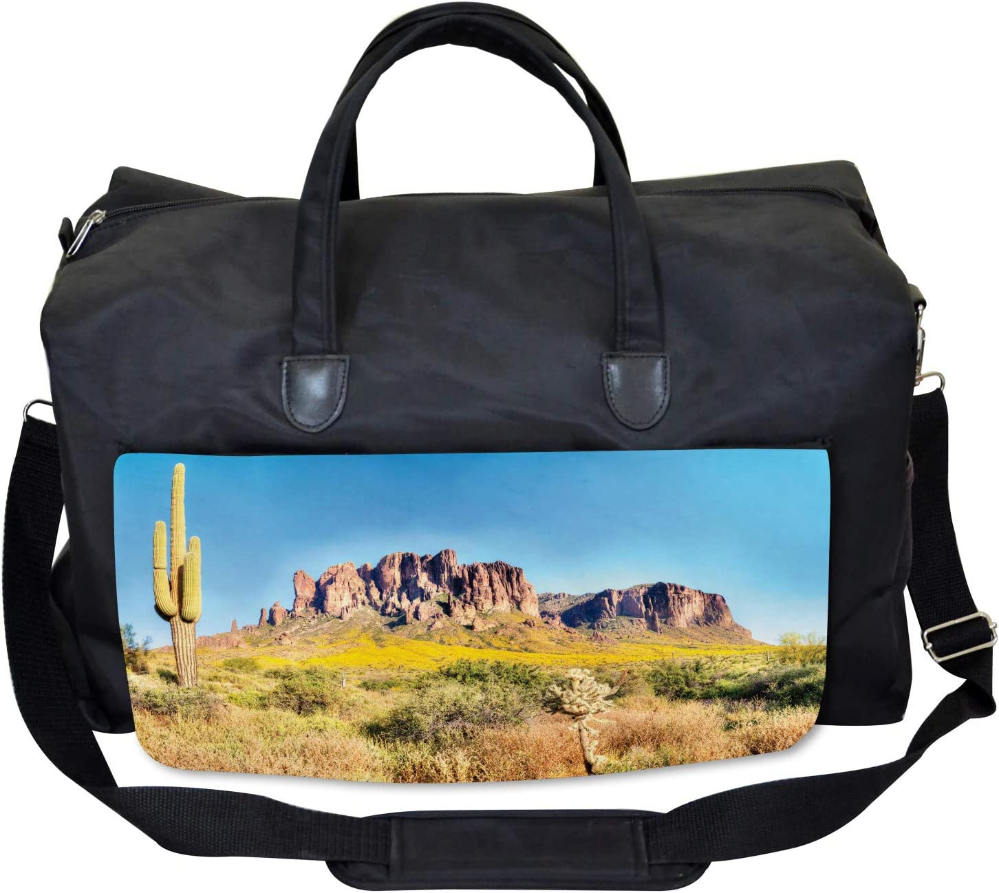 Ambesonne Landscape Gym Bag Large Weekender Carry-on Blooming Mountain