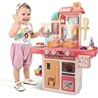 UNIH Kids Kitchen Playset with Play Food Sets for Kids Play Kitchen Toys for 3 Year Old Girls Gift