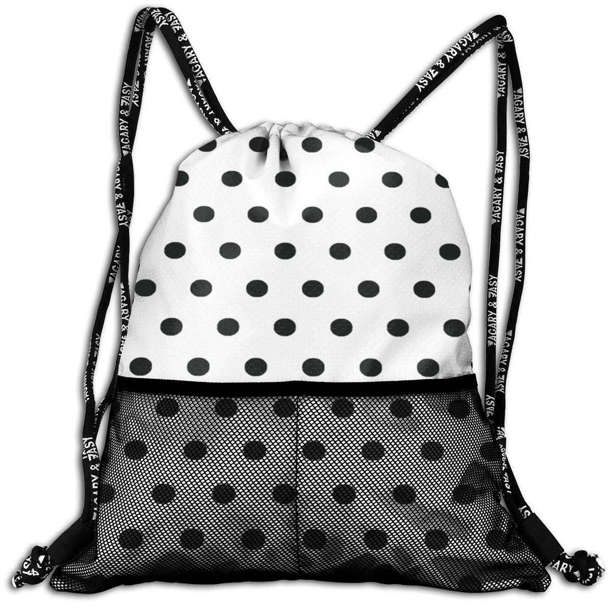 7af311fa7 Amazon.com | Drawstring Bag Classic Black White Polka Dot Womens Gym  Backpack Custom Personalized Mens Travel Canvas Bags For Unisex | Drawstring  Bags