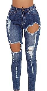 7888f853ce975 Lukis Femme Jeans Trous Délavé Déchirés Taille Haute en Denim Pantalon  Skinny Crayon Slim