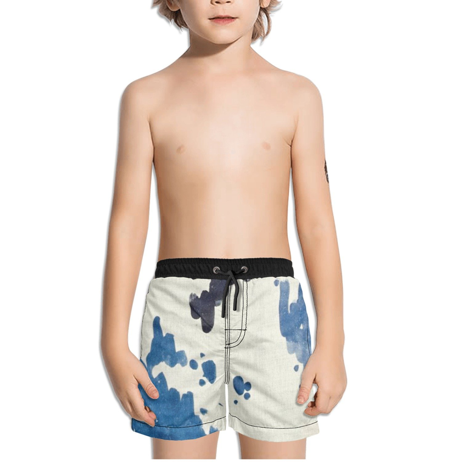 Ouxioaz Boys Swim Trunk Abstract Paint Blue Beach Board Shorts