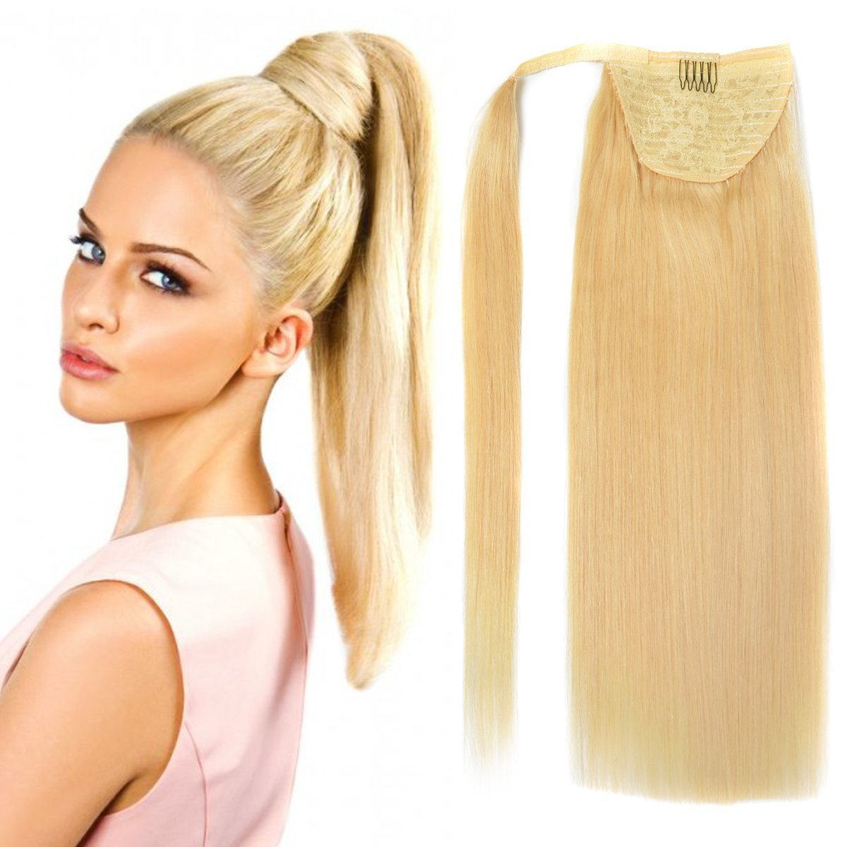 18 Straight Wrap Around Ponytail Human Hair Extensions For Women 100gram Bleach Blonde 613