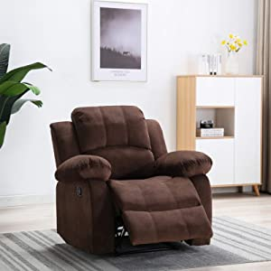 PovKeever Manual Recliner Chair-Comfortable Velvet Fabric Recliner Chair-Overstuffed Home Theater Seating-Single Reclining Sofa for Living Room and Bedroom(Brown Fabric)