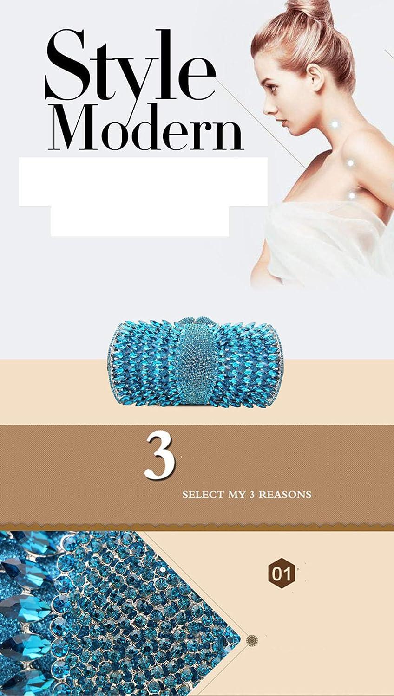 Wanforjewellery Lady Diamond Encrusted Evening Bag, Crystal Clutch Purse Borsa a Mano con Catena Corta white