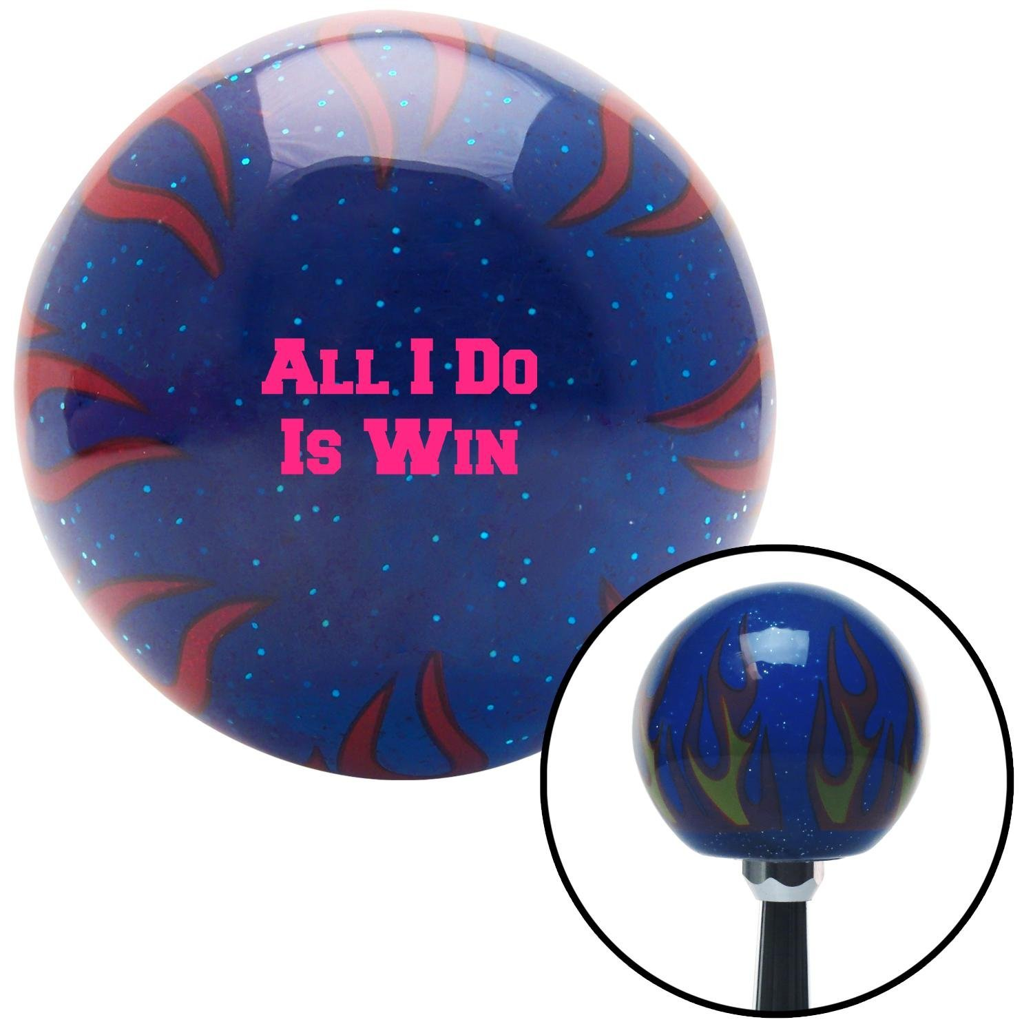 Pink All I Do is Win Blue Flame Metal Flake with M16 x 1.5 Insert American Shifter 297862 Shift Knob