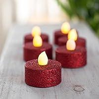 Lot 6 bougies Led à pailletes Rouge - Féérie Christmas