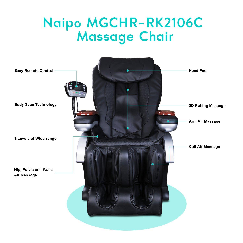Naipo Shiatsu Massage Stuhl Massagesessel mit S Schiene Heizungs
