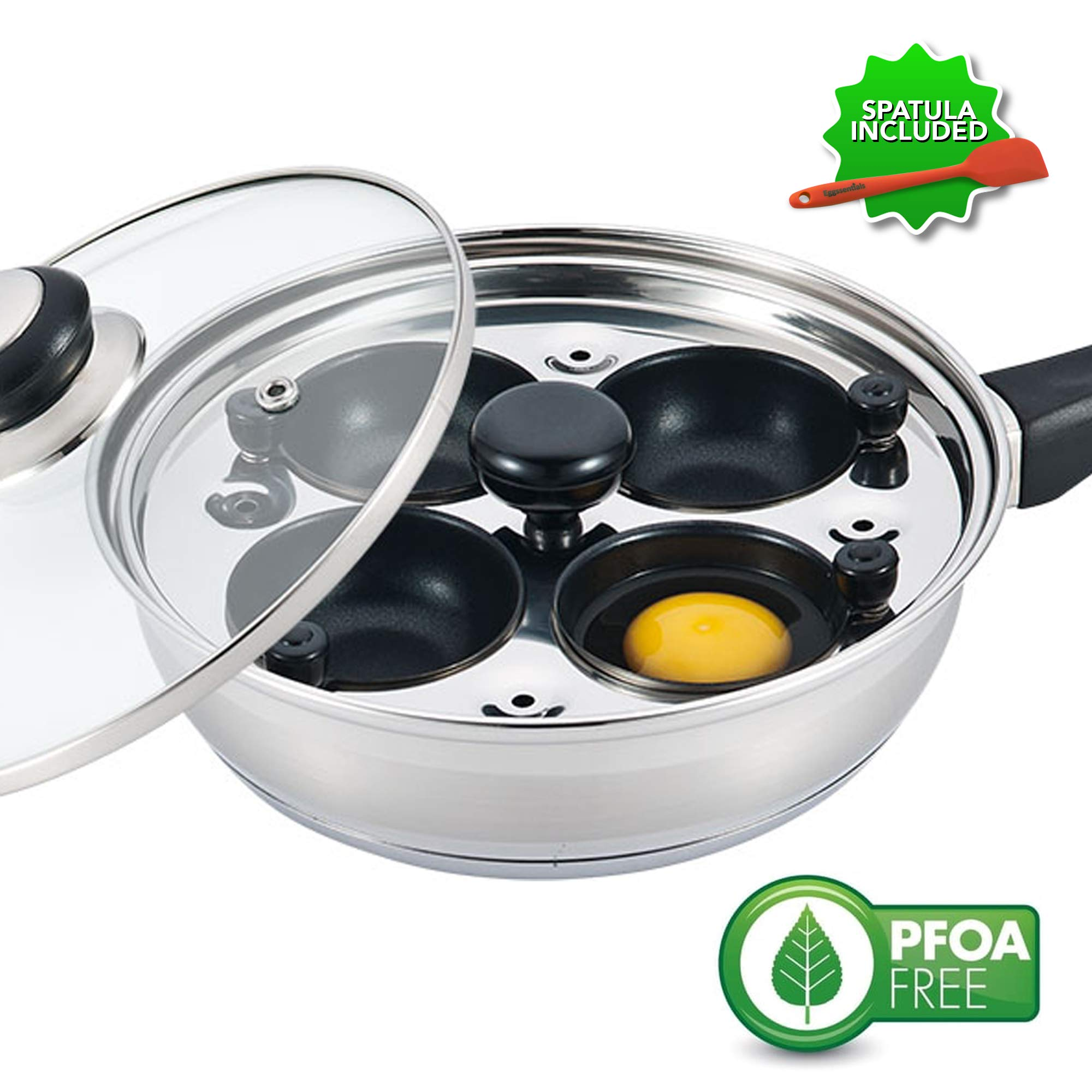 Eggssentials Poached Egg Maker - Nonstick 4 Egg Poaching Cups - Stainless Steel Egg Poacher Pan FDA Certified Food Grade Safe PFOA Free with Bonus Spatula by Eggssentials