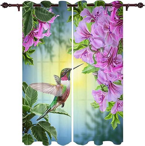 Hummingbirds and Brilliant Flowers Nature Landscape Set of 2 Panels Printed Soft Window Treatments