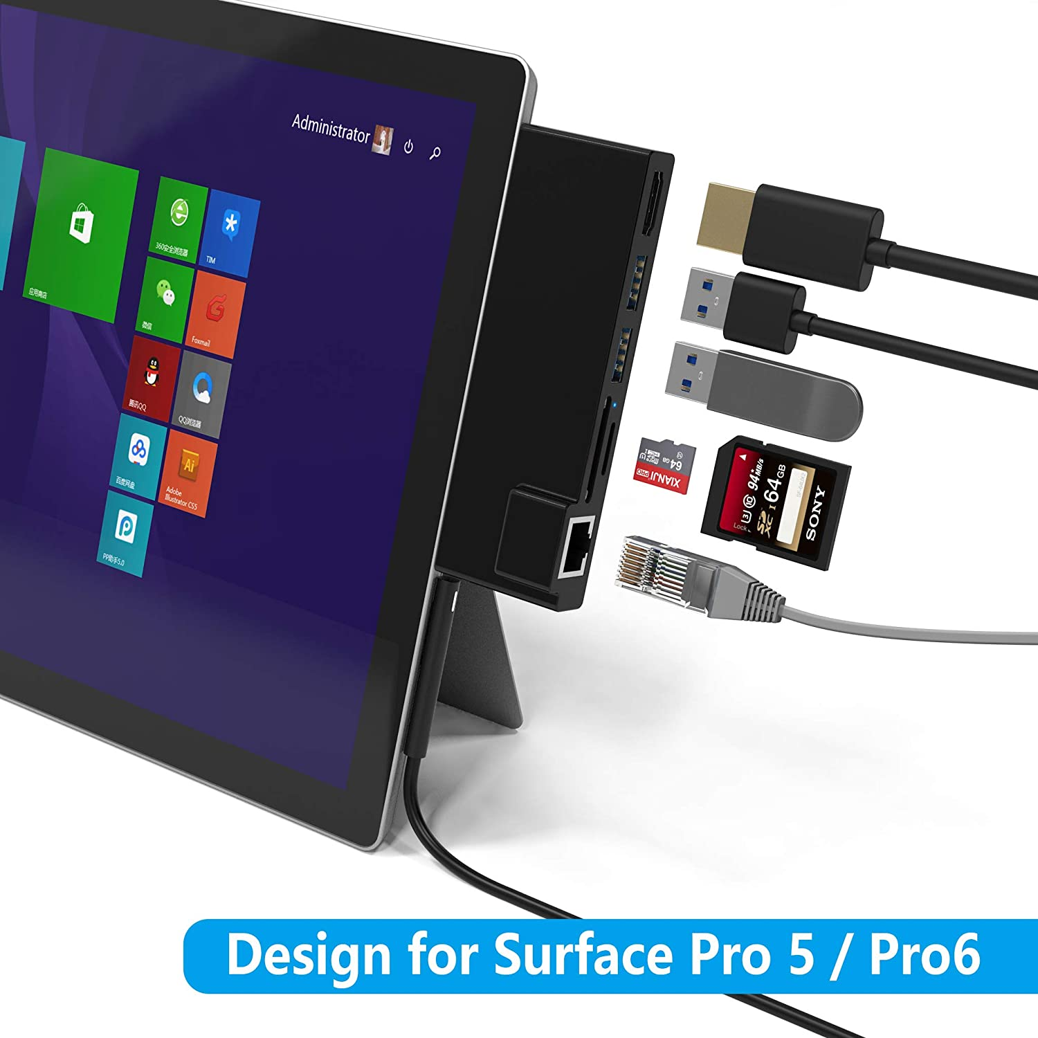 Cateck Microsoft Surface Pro 4 USB 3.0 Hub Docking Station with 4K HDMI 3 x USB 3.0 Ports SD//Micro SD Card Reader for the 4th Generation Surface Pro 4 2015 microsoft surface dock