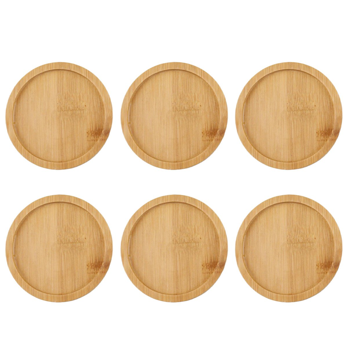BESTOMZ 6pcs Bamboo Round Plant Saucer Flower Pot Tray Bonsai Succulent for Indoor Outdoor Plants 9.5x9.5cm