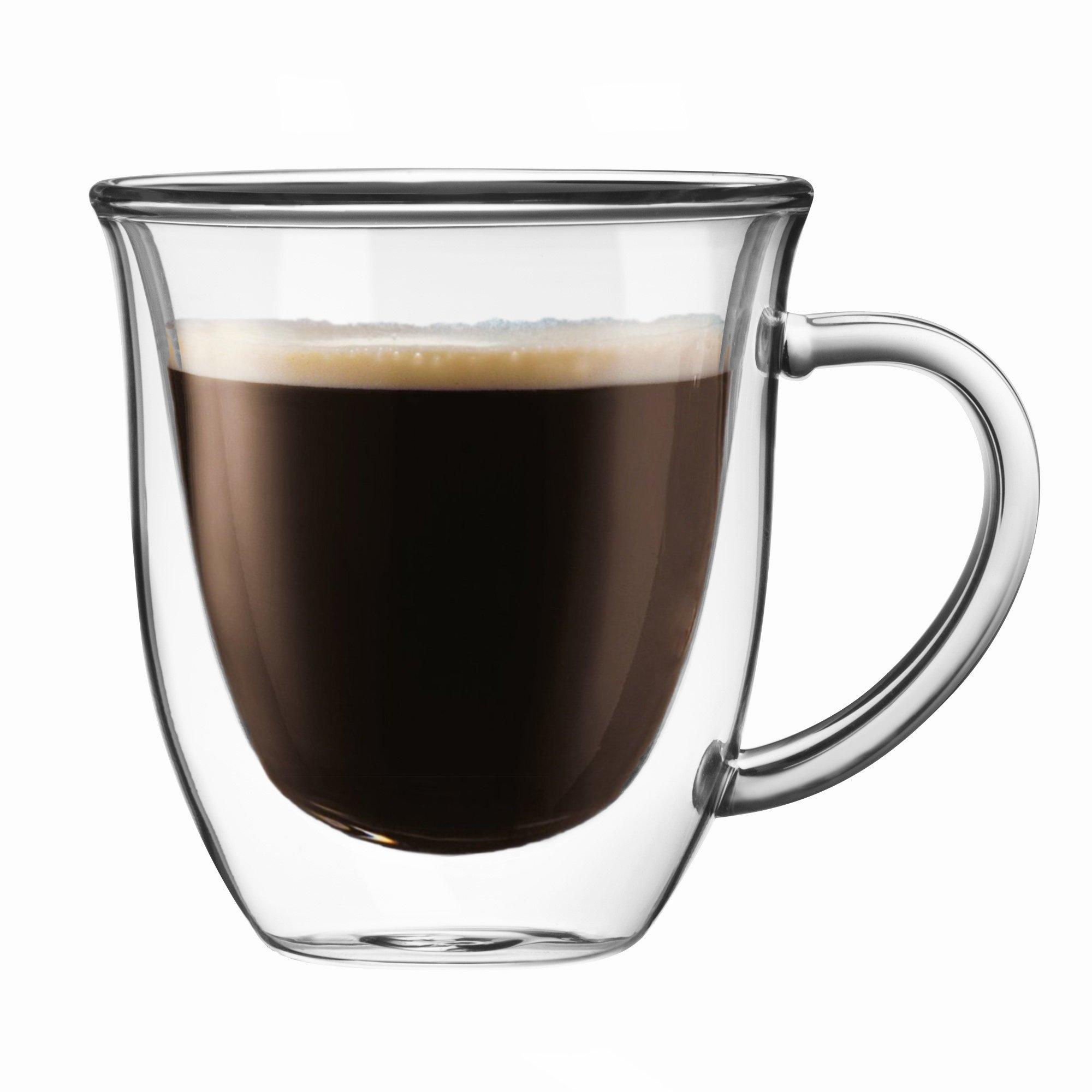 JoyJolt Serene Double Walled Glasses insulated Coffee Mug 7.4 Oz (Set of 2)