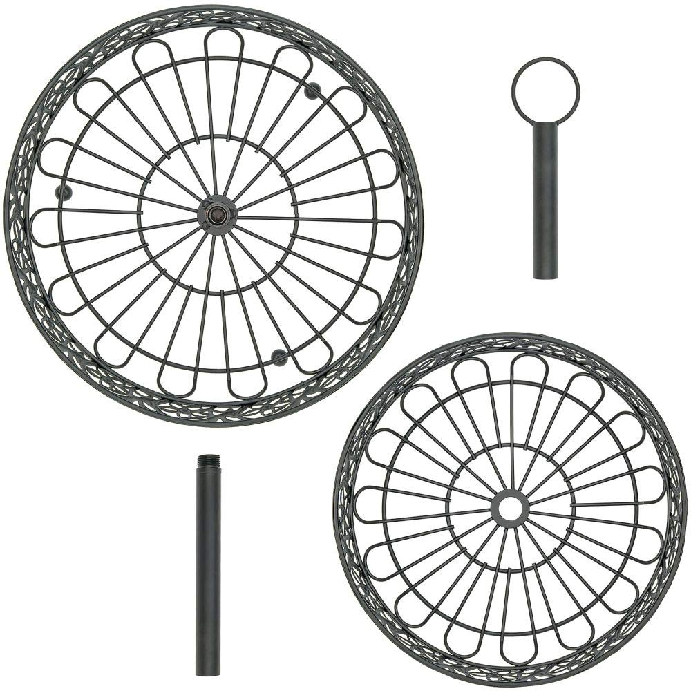 Southern Homewares SH-10245 Countertop Ornate Black Two Tiered Fruit Basket Decorative Shabby Chic Floral Metal Pattern w//Loop for Hanging One Size,