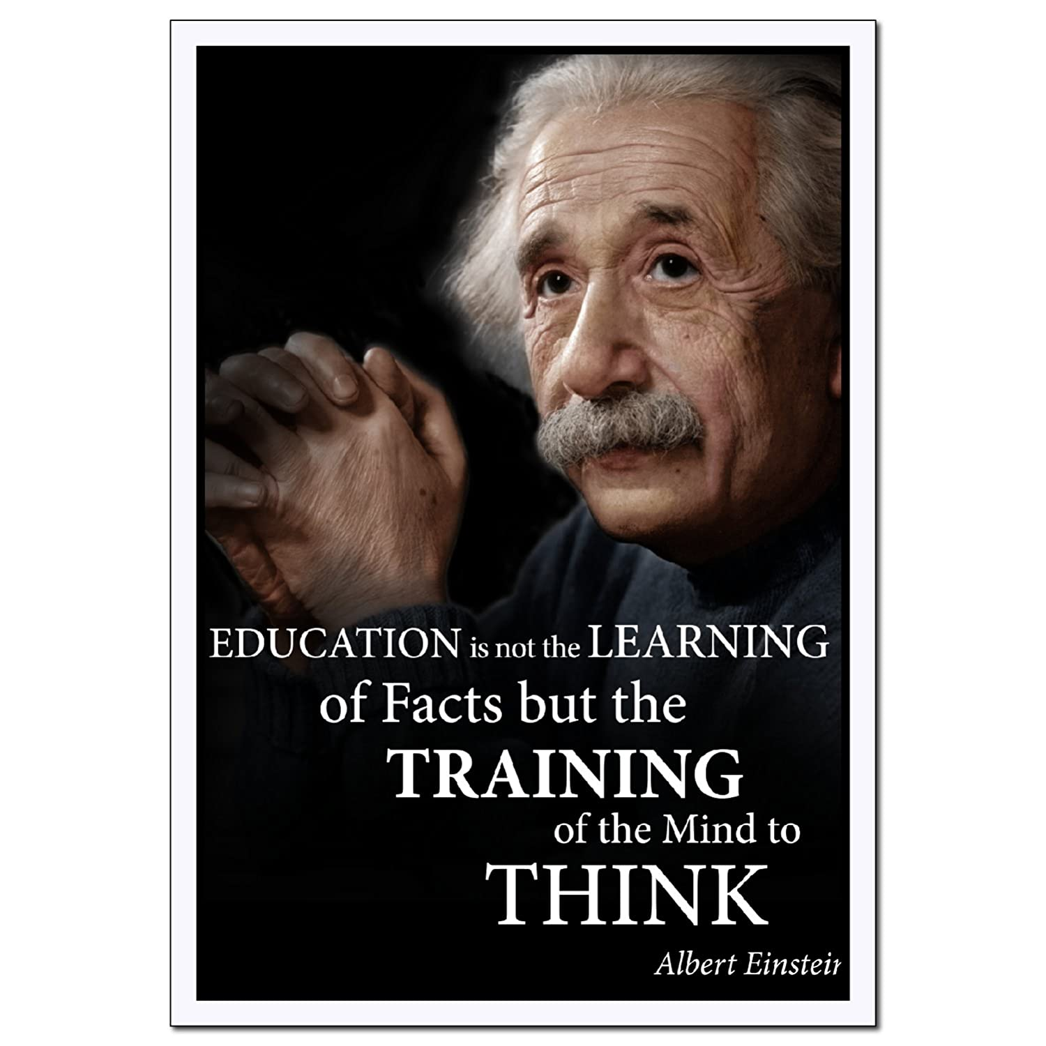 Young N Refined Albert Einstein Education Large Portrait Poster Quote Print for Home Study Library classrooms and Offices (18x24)