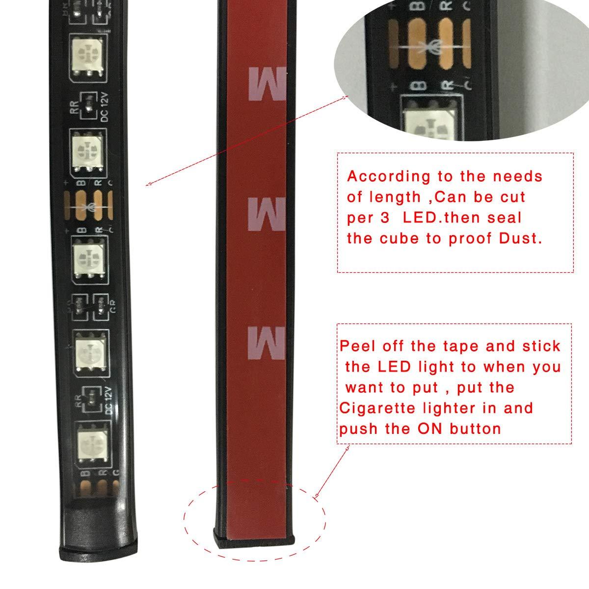 caricabatteria, 48 LED 8 Colori 4 Modalit/à Musica dotate di telecomando e caricabatteria per auto Auto LED Interni