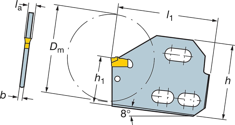 Sandvik Coromant 90 deg Cutting Edge Angle 151.2-25-60 Neutral Cut No Coolant Steel T-Max Q-Cut Blade for Parting