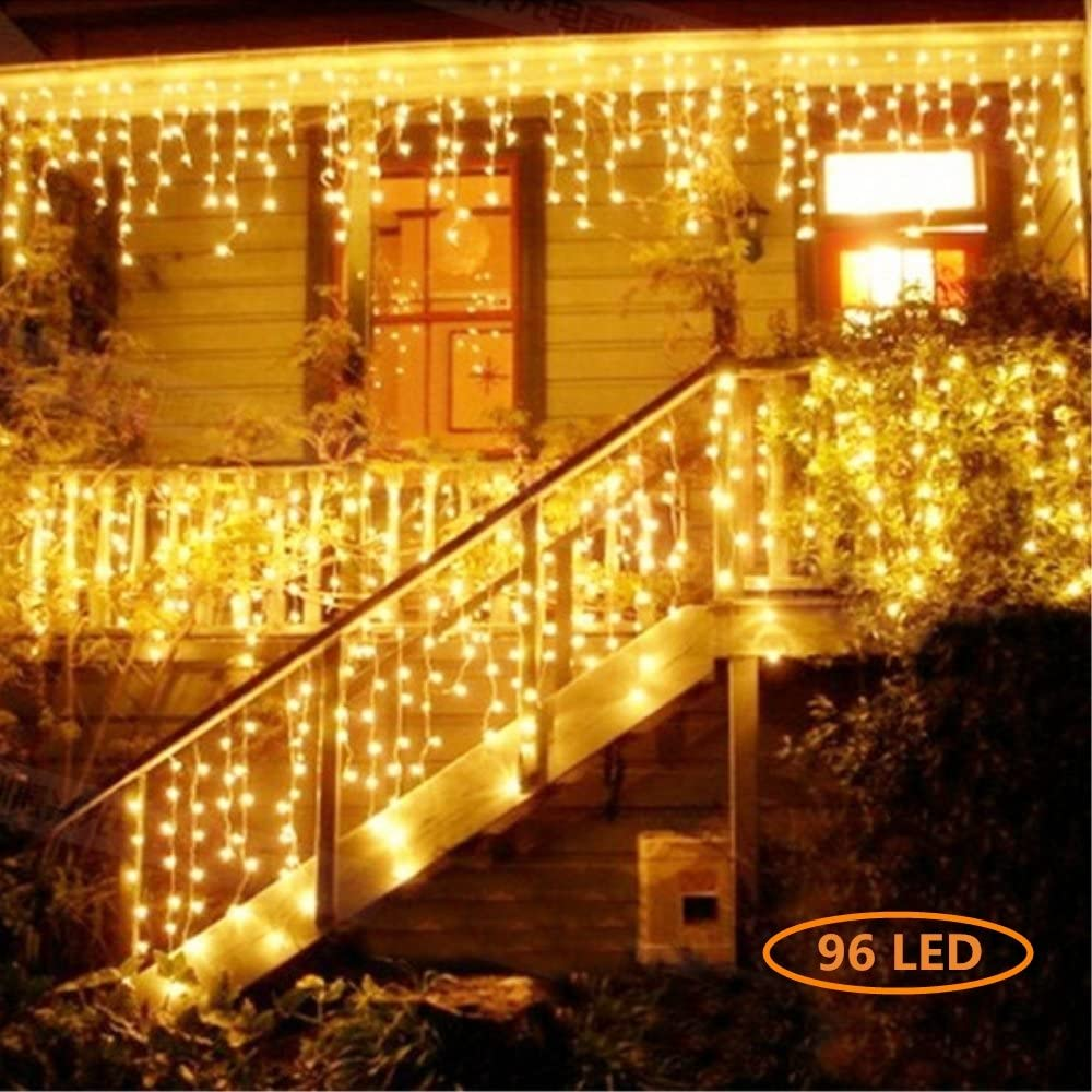 Jefferson LED Icicle Lights Warm White Patio Fairy String Lights Christmas Lights New Year Holiday Icicle Lights Curtains Lights Starry Lights with 8 Models(13ft,96 LEDs) (Warm White-96)