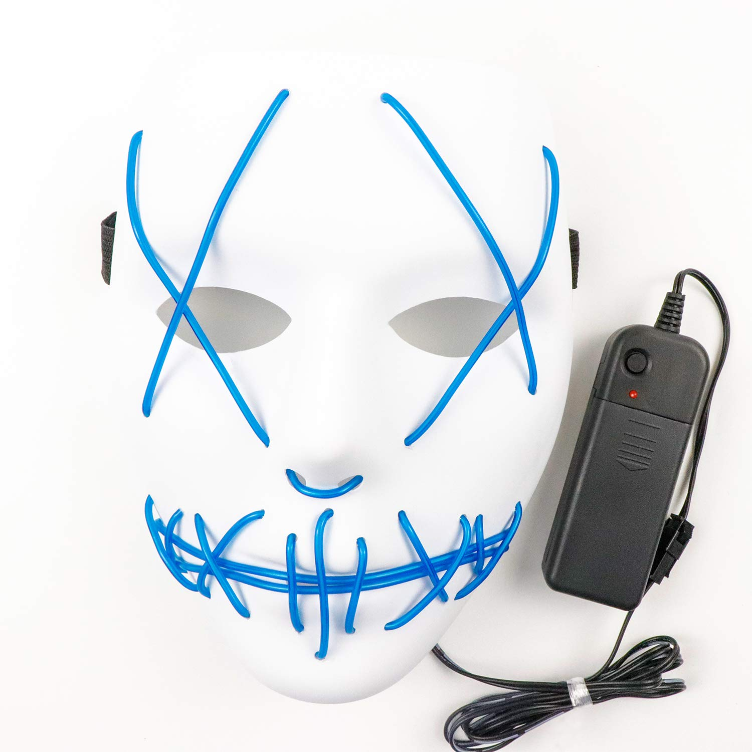 MOOSENG Scary Mask Halloween Cosplay Mask LED Wire Light Up Grin Masks Festival Party