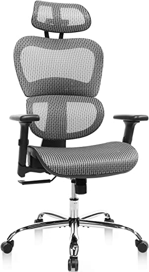 Amazon Com Home Office Chair Mesh Ergonomic Computer Chair With 3d Adjustable Armrests Desk Chair High Back Technical Task Chair Grey Furniture Decor