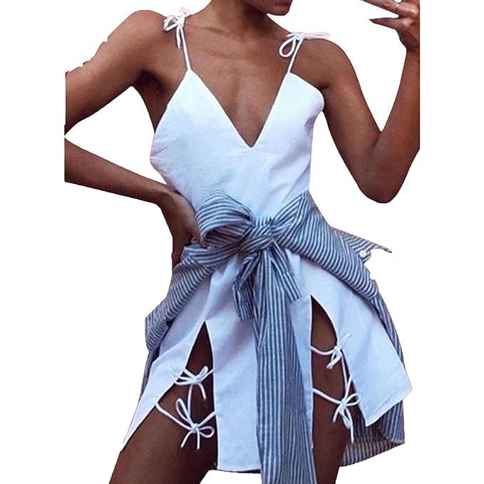 Lovely-Shop Sexy Women Summer Dress Causal Bandage Spaghetti Strap V-Neck Slit Party
