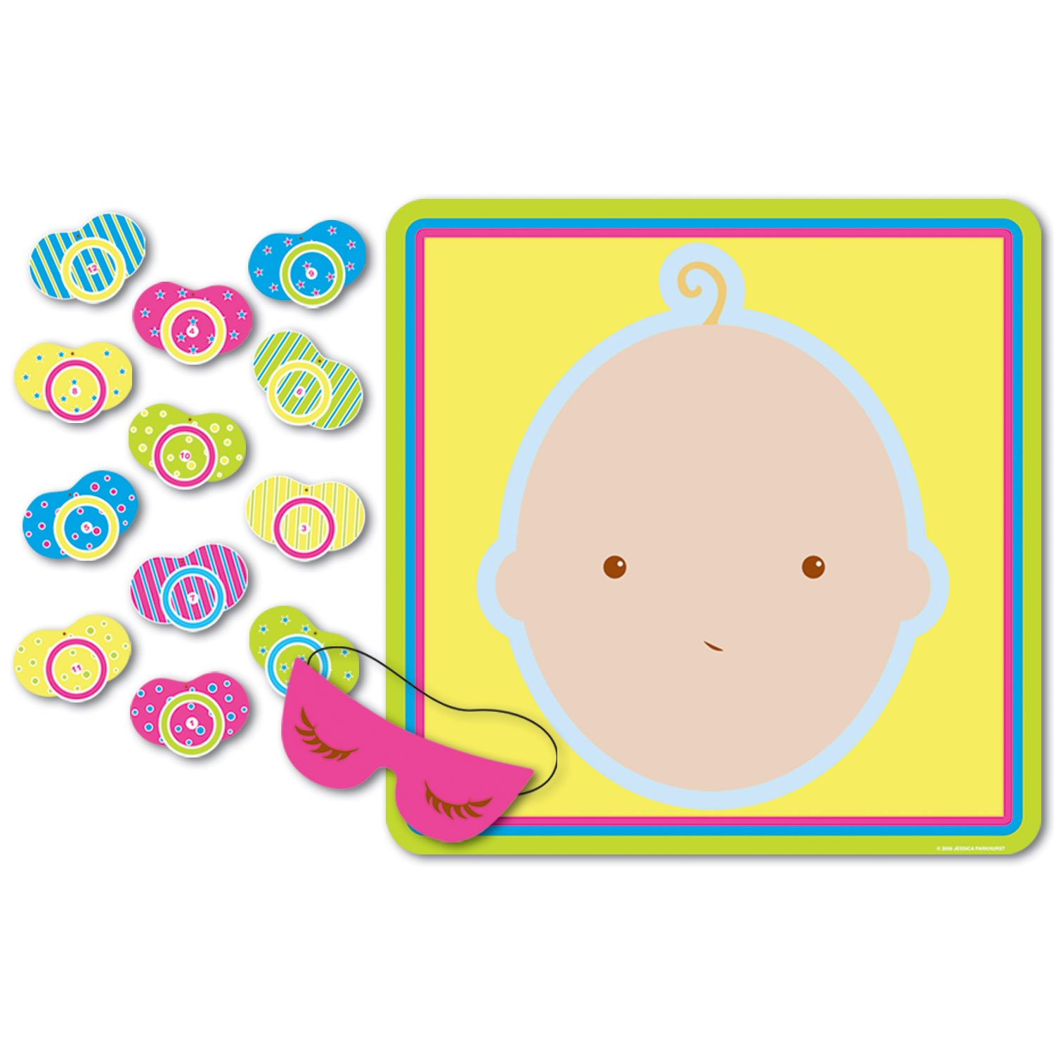 Beistle 66675 Pin The Pacifier Baby Shower Game, 17' x 18.5' 17 x 18.5 The Beistle Company