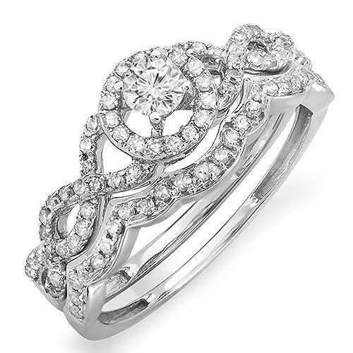 0.50 Carat (ctw) 14K White Gold Round Diamond Ladies Halo Style Bridal Engagement Ring Set 1/2 CT