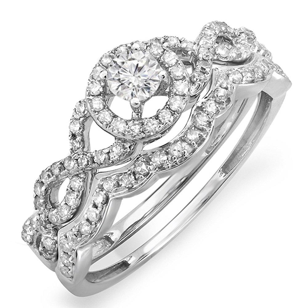 0.50 Carat (ctw) 14K White Gold Round Diamond Ladies Bridal Engagement Ring Set 1/2 CT (Size 4.5)