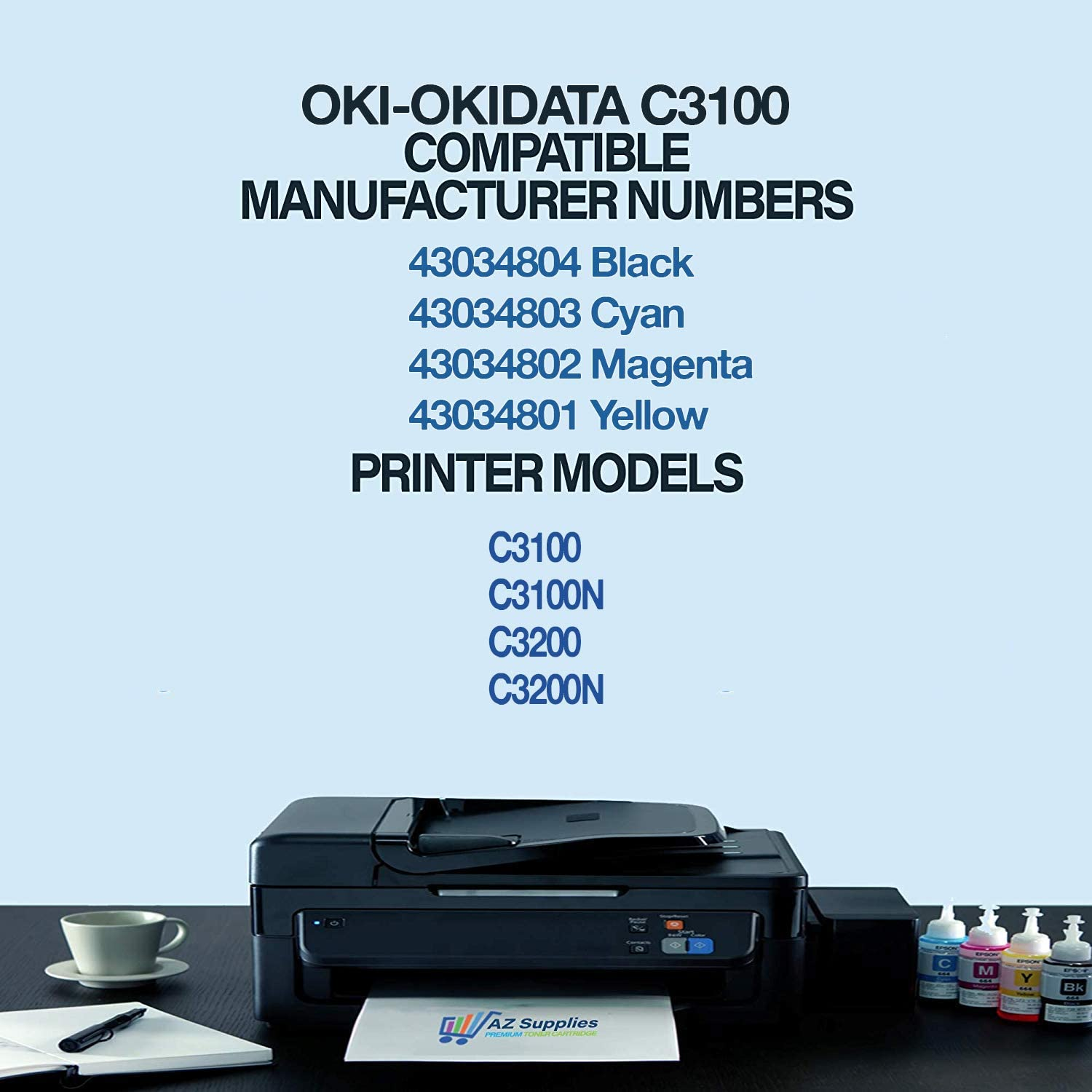 Print.After.Print Compatible Toner Replacement for Oki-Okidata 43034804 Black C3200 C3100N Works with: C3100 C3200N