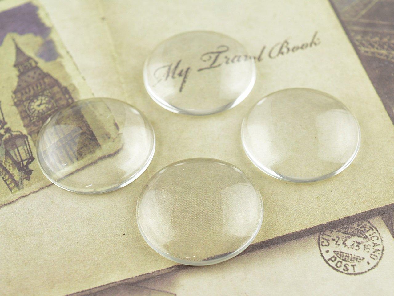 4 Cabochon 25 mm Glas klar von Vintageparts, DIY-Schmuck: Amazon.de ...