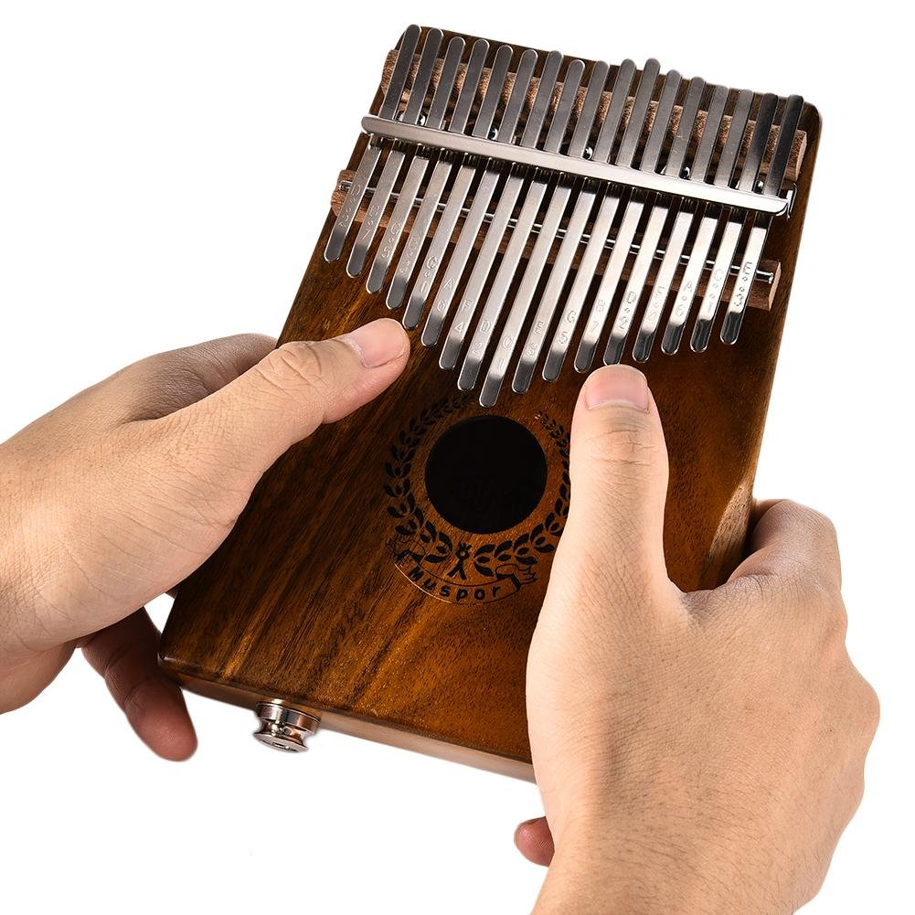 Samber Kalimba 17 Keys Thumb Piano Solid Finger Piano 17Key EQKalimbaSolidAcaciaThumbPianoLinkSpeakerElectricPickupwithBagCable with Tuning and Note Layout by Samber (Image #2)
