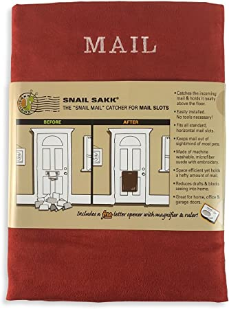 SNAIL SAKK: Mail Catcher for Mail Slots - RED No More Mail on The Floor! Plus Many Other Benefits!