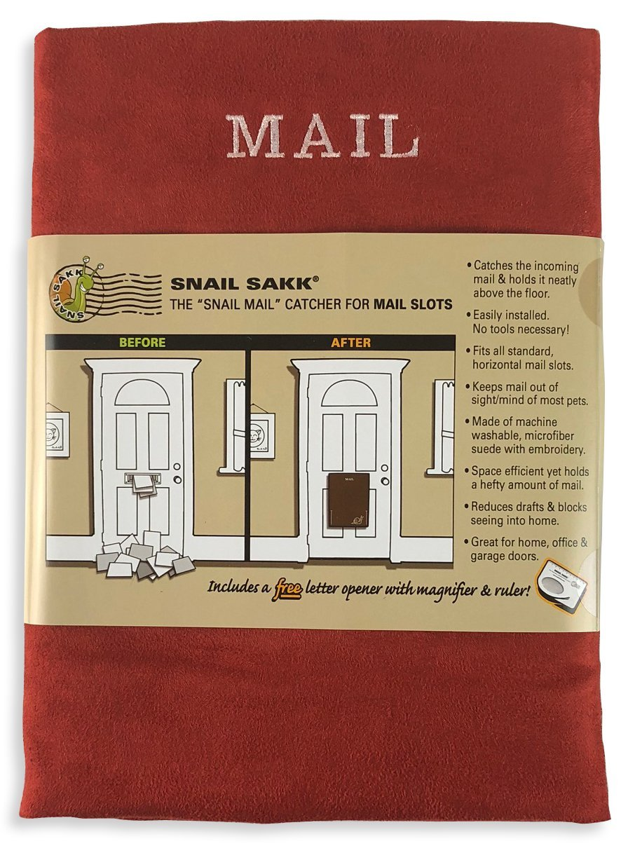 SNAIL SAKK: Mail Catcher For Letterboxes - RED. No tools / screws needed! Space efficient, reduces draughts, protects privacy and much more. For home, office, and garage doors. ( Basket Letter Cage Post Box Disabled Elderly Maternity Hardware Excluder Open