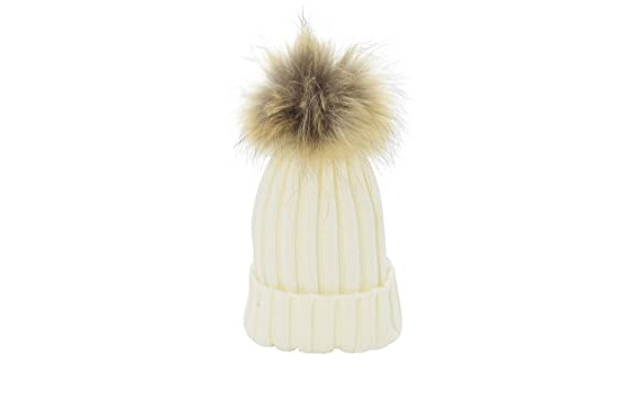 65d9d4cdd33 Oderola unisexe Chapeau d hiver bonnet en laine  Tricot Cap Femme pompom