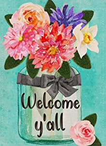 Furiaz Welcome Y'all Watercolor Flowers Garden Flag Fall Decorative House Yard Outdoor Flag Vintage Floral Vase, Farmhouse Autumn Outside Decorations Seasonal Home Decor Flag Double Sided 12 x 18