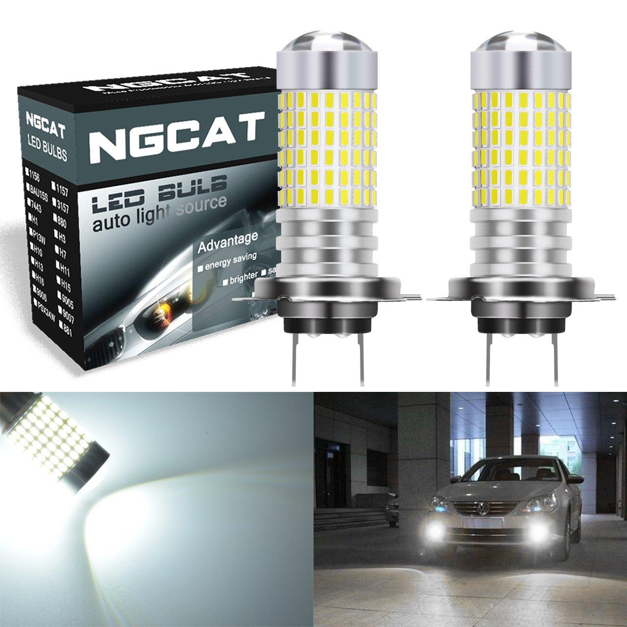 Ngcat 2 pcs 1500 lumens 3014smd 144-ex Chipsets H7 ampoules LED Super Lumineux avec lentille Vidé oprojecteur Feux de Brouillard DRL Feux de Jour les signaux Back Up inversé e lumiè res, Xenon Blanc 12– 24