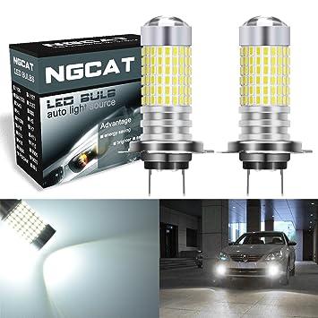 NATGIC 2PCS H7 Faros antiniebla 1500LM 3014SMD 144-EX Chipsets Bombillas LED súper brillantes con proyector de lente Faros Antiniebla, Xenón blanco 12-24V: ...