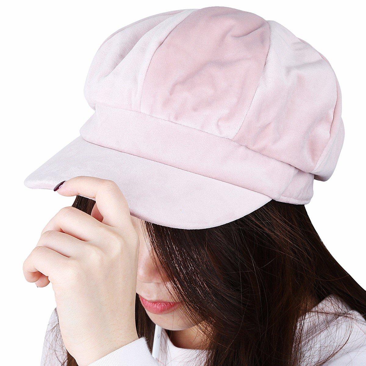 Samtree Newsboy Hats for Women,8 Panel Winter Warm Ivy Gatsby Cabbie Cap(05-Pink)