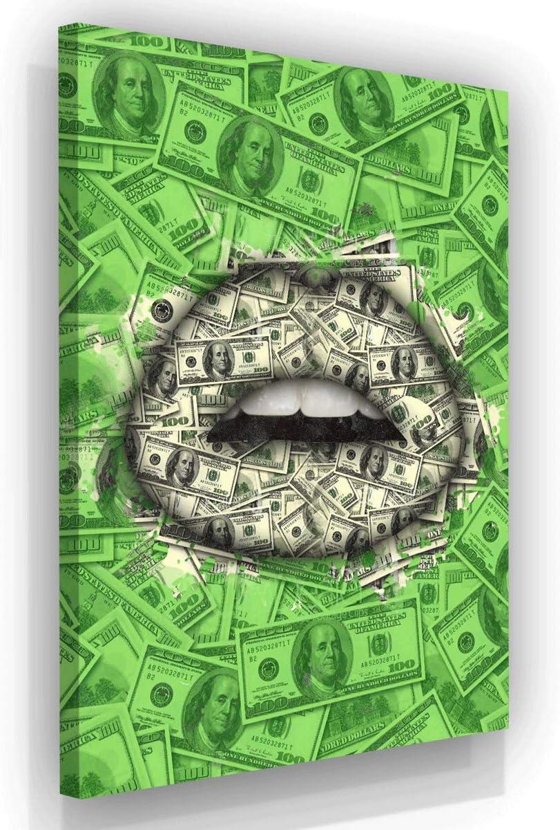 Money Talks Canvas Print Wall Office Decor Modern Art Entrepreneur Motivation Hustle Dollars Pop Art Lips Money Art Inspirational Wall Decol 18 X 12 Posters Prints