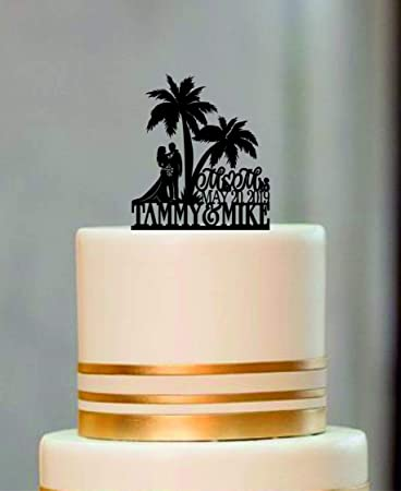 Couple Silhouette Wedding Cake Topper Palm Tree Custom Personalized Beach